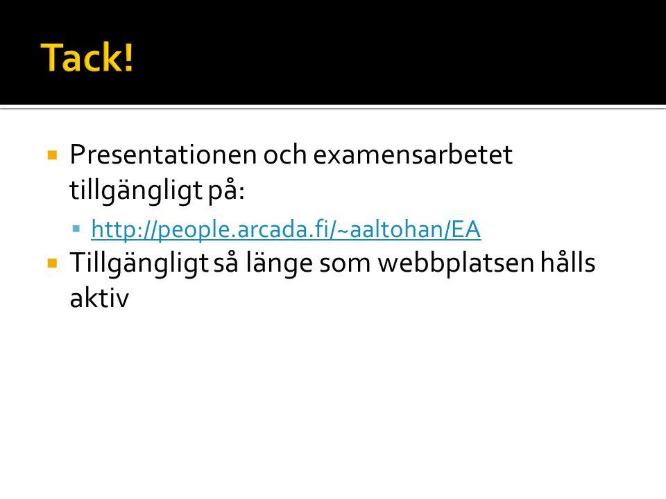  Presentationen och examensarbetet tillgängligt på:  http://people.arcada.fi/~aaltohan/EA http://people.arcada.fi/~aaltohan/EA  Tillgängligt så länge som webbplatsen hålls aktiv