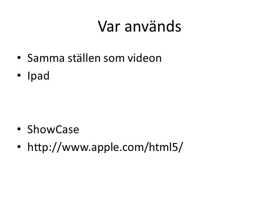 Var används Samma ställen som videon Ipad ShowCase http://www.apple.com/html5/