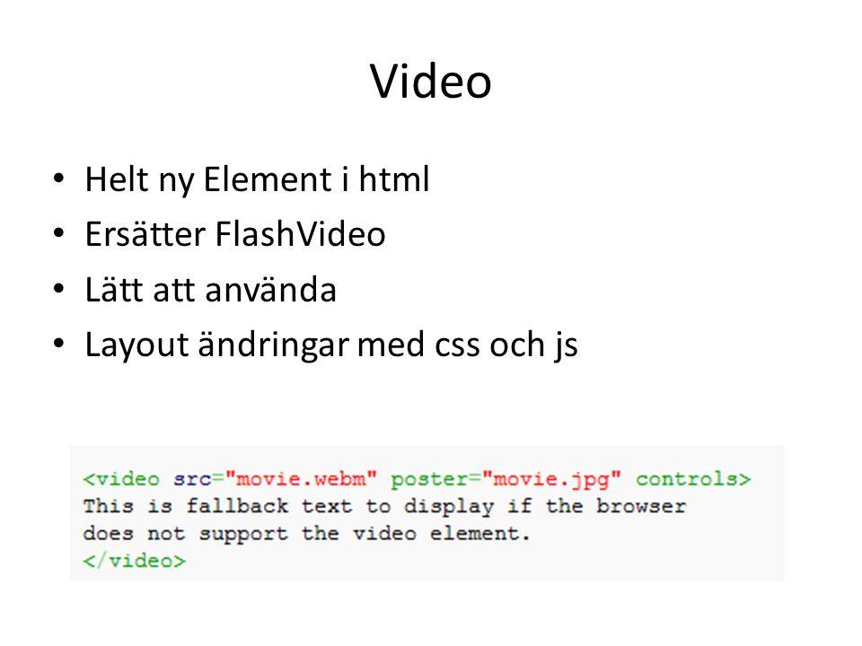 Video Helt ny Element i html Ersätter FlashVideo Lätt att använda Layout ändringar med css och js