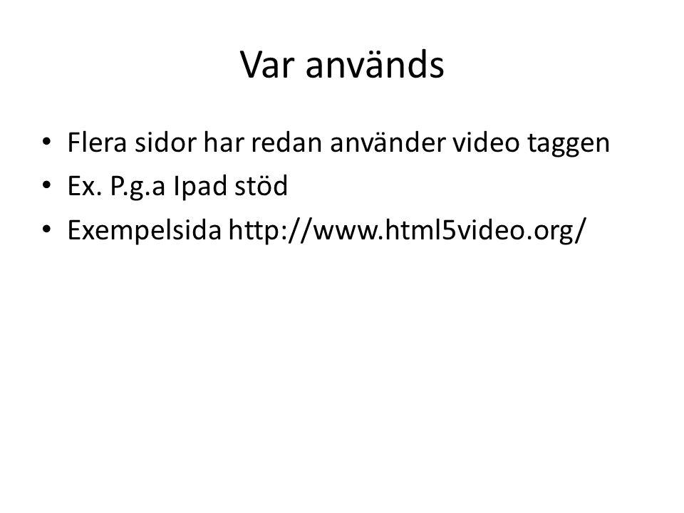 Var används Flera sidor har redan använder video taggen Ex.