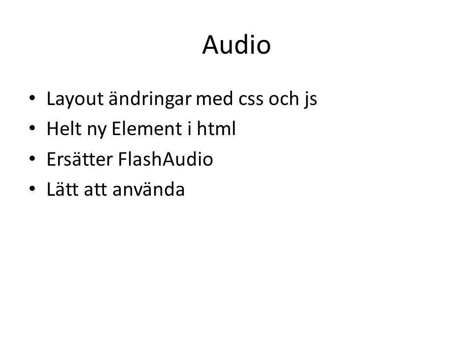 Audio Layout ändringar med css och js Helt ny Element i html Ersätter FlashAudio Lätt att använda