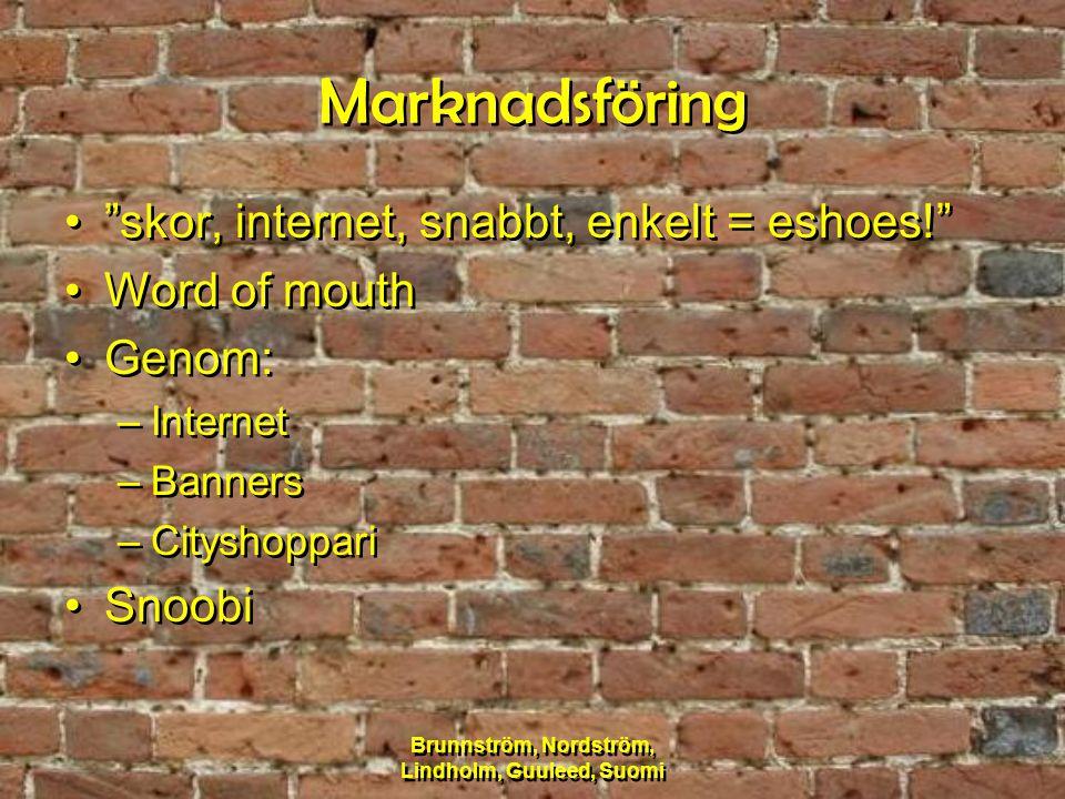 "Brunnström, Nordström, Lindholm, Guuleed, Suomi Marknadsföring ""skor, internet, snabbt, enkelt = eshoes!"" Word of mouth Genom: –Internet –Banners –Cit"