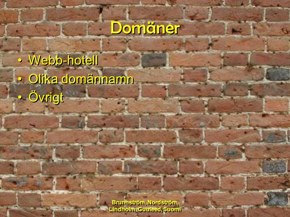 Brunnström, Nordström, Lindholm, Guuleed, Suomi Domäner Webb-hotell Olika domännamn Övrigt Webb-hotell Olika domännamn Övrigt