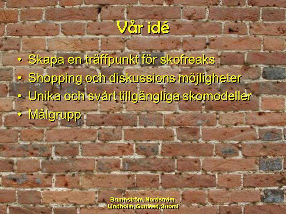 Brunnström, Nordström, Lindholm, Guuleed, Suomi Vår idé Skapa en träffpunkt för skofreaks Shopping och diskussions möjligheter Unika och svårt tillgän
