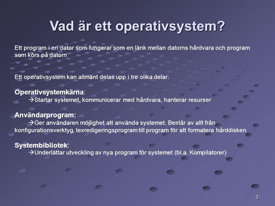 4 Operativsystemets uppgifter Exekvering av program Minneshantering Hantering av filsystem In- och utmatning Skydd och felhantering Kommunikation med användaren