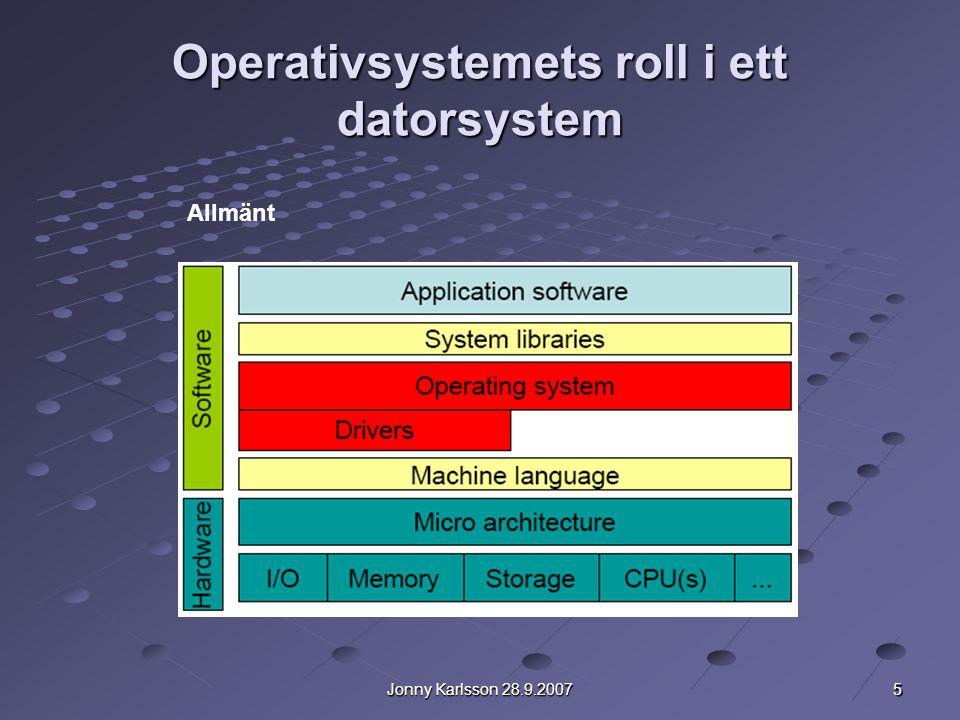 5 Jonny Karlsson 28.9.2007 Operativsystemets roll i ett datorsystem Allmänt