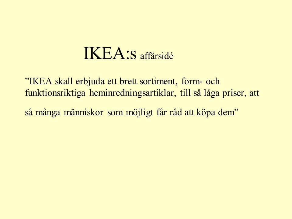 """IKEA:s affärsidé """"IKEA skall erbjuda ett brett sortiment, form- och funktionsriktiga heminredningsartiklar, till så låga priser, att så många människo"""