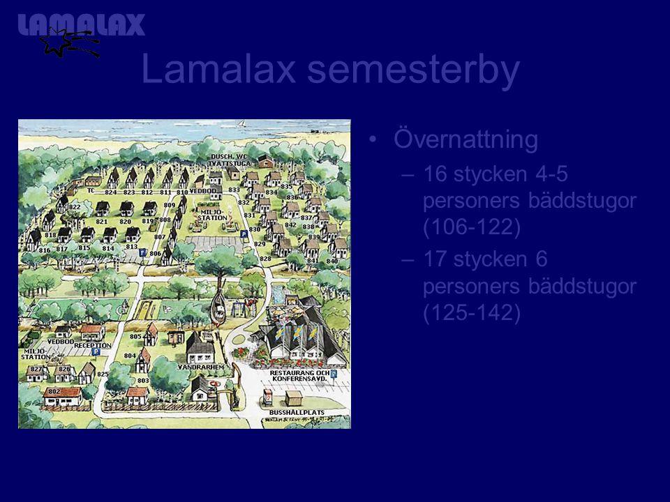 Lamalax semesterby Övernattning –16 stycken 4-5 personers bäddstugor (106-122) –17 stycken 6 personers bäddstugor (125-142)