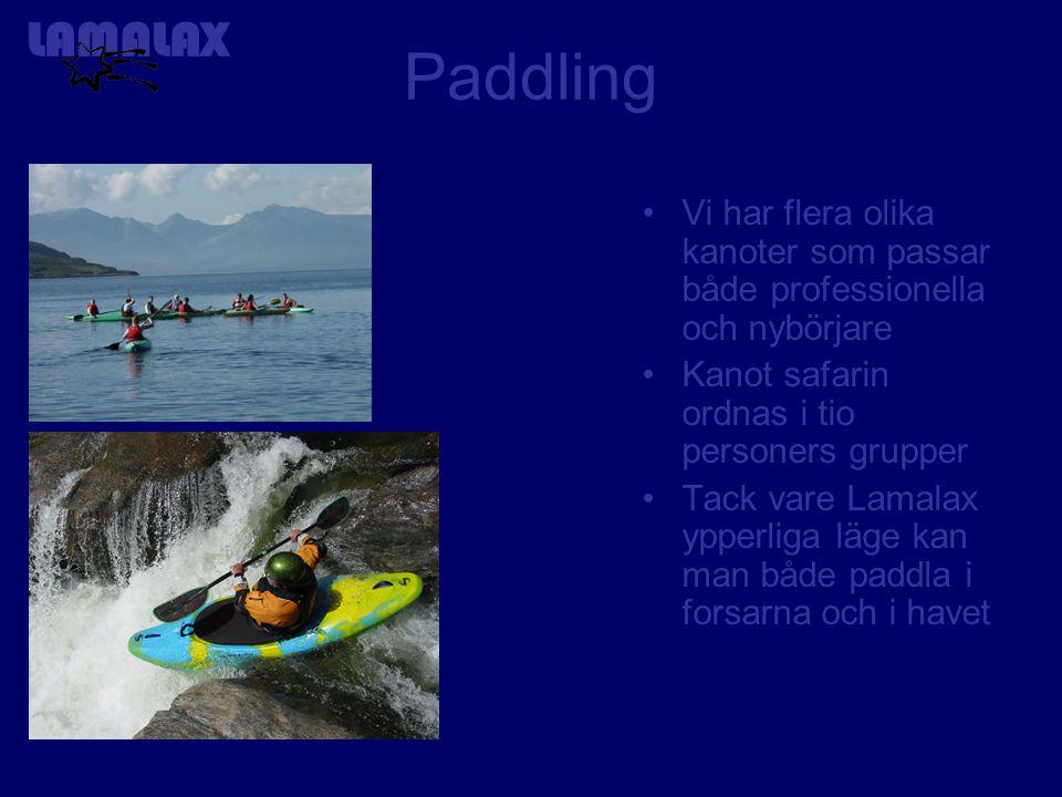 Paddling Vi har flera olika kanoter som passar både professionella och nybörjare Kanot safarin ordnas i tio personers grupper Tack vare Lamalax ypperliga läge kan man både paddla i forsarna och i havet
