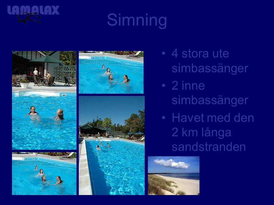 Simning 4 stora ute simbassänger 2 inne simbassänger Havet med den 2 km långa sandstranden