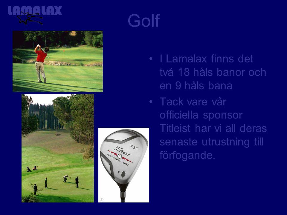 Golf I Lamalax finns det två 18 håls banor och en 9 håls bana Tack vare vår officiella sponsor Titleist har vi all deras senaste utrustning till förfogande.