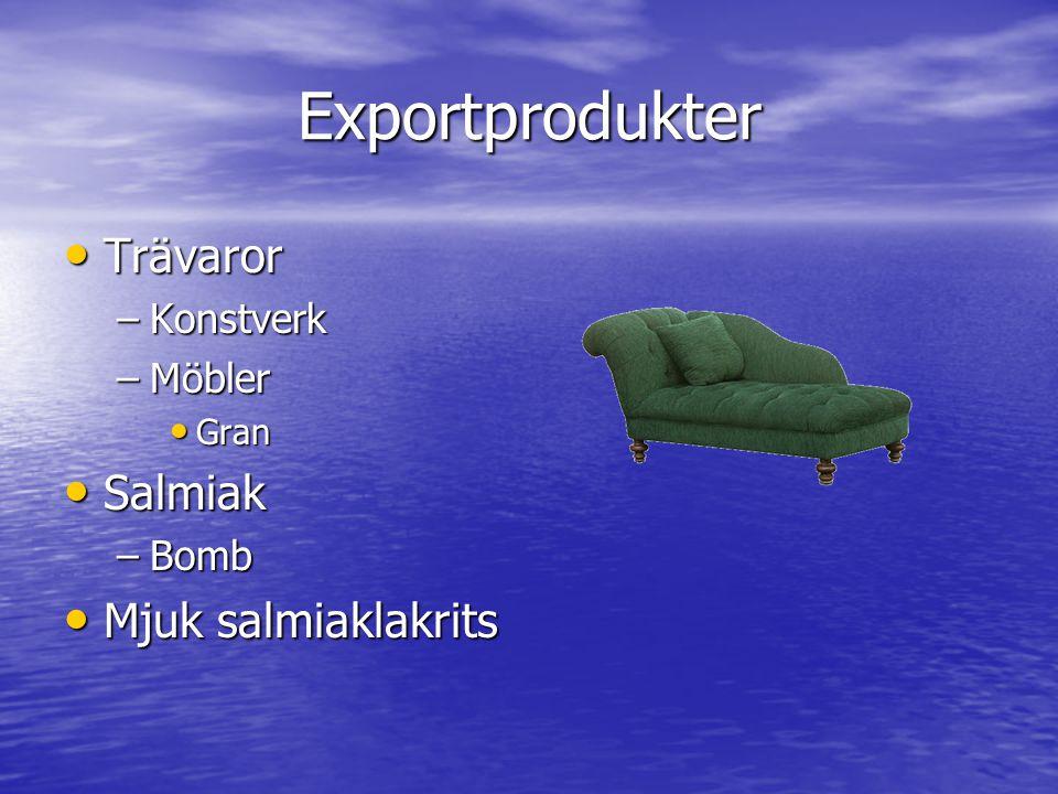 Exportprodukter Trävaror Trävaror –Konstverk –Möbler Gran Gran Salmiak Salmiak –Bomb Mjuk salmiaklakrits Mjuk salmiaklakrits