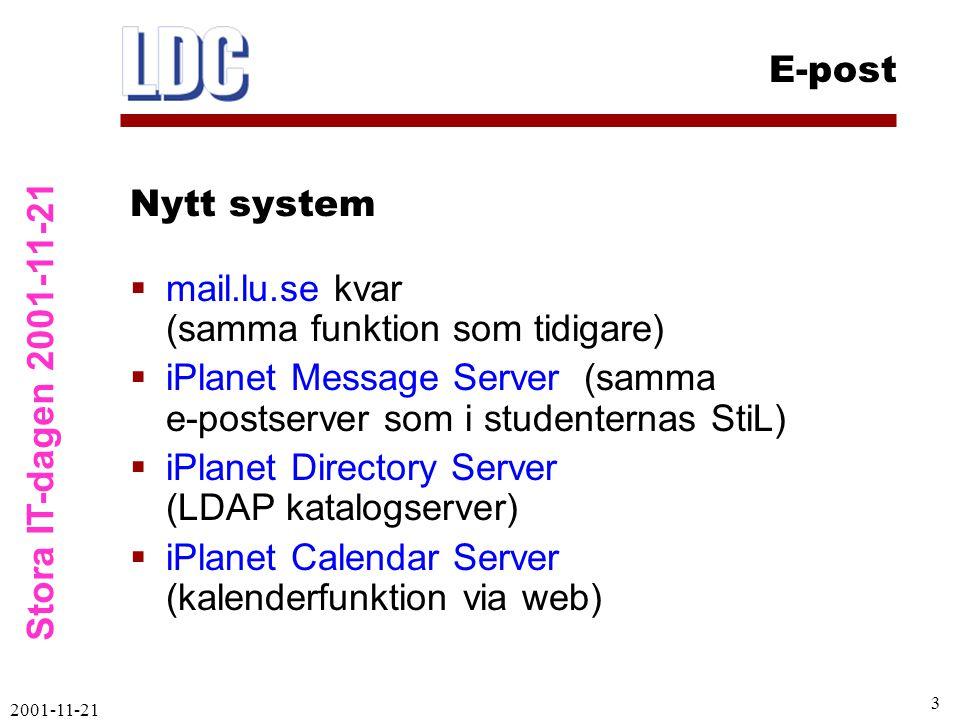 Stora IT-dagen 2001-11-21 E-post 2001-11-21 3  mail.lu.se kvar (samma funktion som tidigare)  iPlanet Message Server (samma e-postserver som i studenternas StiL)  iPlanet Directory Server (LDAP katalogserver)  iPlanet Calendar Server (kalenderfunktion via web) Nytt system