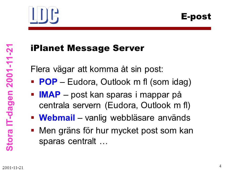 Stora IT-dagen 2001-11-21 E-post 2001-11-21 4 Flera vägar att komma åt sin post:  POP – Eudora, Outlook m fl (som idag)  IMAP – post kan sparas i mappar på centrala servern (Eudora, Outlook m fl)  Webmail – vanlig webbläsare används  Men gräns för hur mycket post som kan sparas centralt … iPlanet Message Server