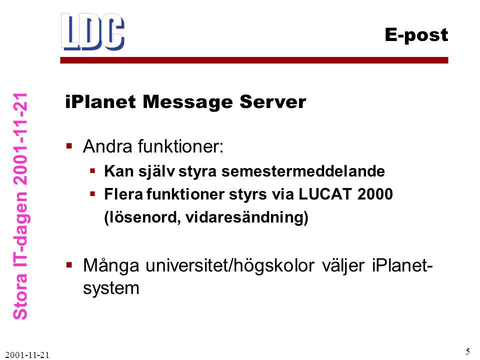 Stora IT-dagen 2001-11-21 E-post 2001-11-21 6  LDAP är central databas med användare  LUCAT blir ännu viktigare  LUCAT styr innehåll i LDAP och mail.lu.se  Person måste finnas i LUCAT för att få e-postkonto på ny server  När person tas bort ur LUCAT så tas e-postkonto också bort Koppling LUCAT – LDAP – e-post