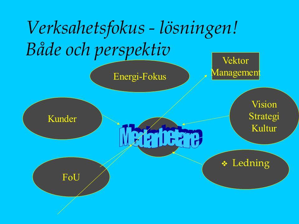 Verksahetsfokus - lösningen! Både och perspektiv Kunder FoU v Ledning Vision Strategi Kultur Energi-Fokus Vektor Management