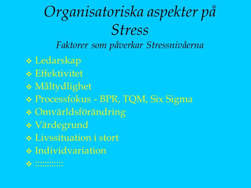 Organisatoriska aspekter på Stress Faktorer som påverkar Stressnivåerna v Ledarskap v Effektivitet v Måltydlighet v Processfokus - BPR, TQM, Six Sigma v Omvärldsförändring v Värdegrund v Livssituation i stort v Individvariation v ::::::::::::