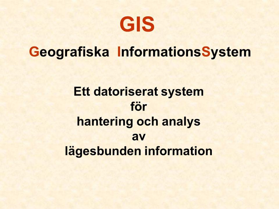 GIS Geografiska InformationsSystem Ett datoriserat system för hantering och analys av lägesbunden information