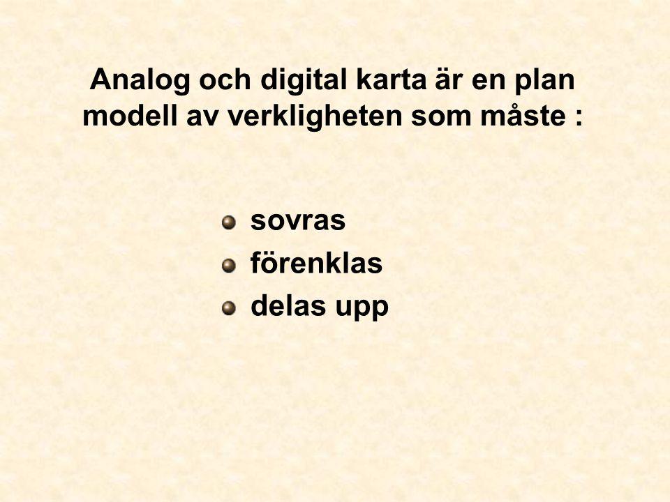 Analog och digital karta är en plan modell av verkligheten som måste : sovras förenklas delas upp