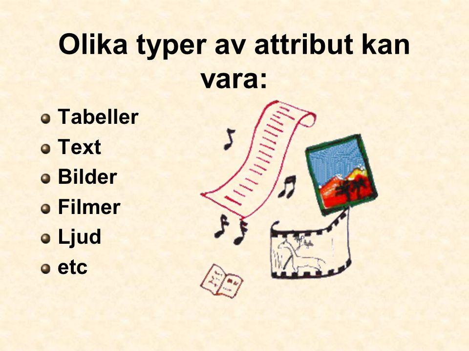 Olika typer av attribut kan vara: Tabeller Text Bilder Filmer Ljud etc