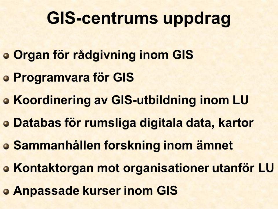 GIS-centrums uppdrag Organ för rådgivning inom GIS Programvara för GIS Koordinering av GIS-utbildning inom LU Databas för rumsliga digitala data, kart