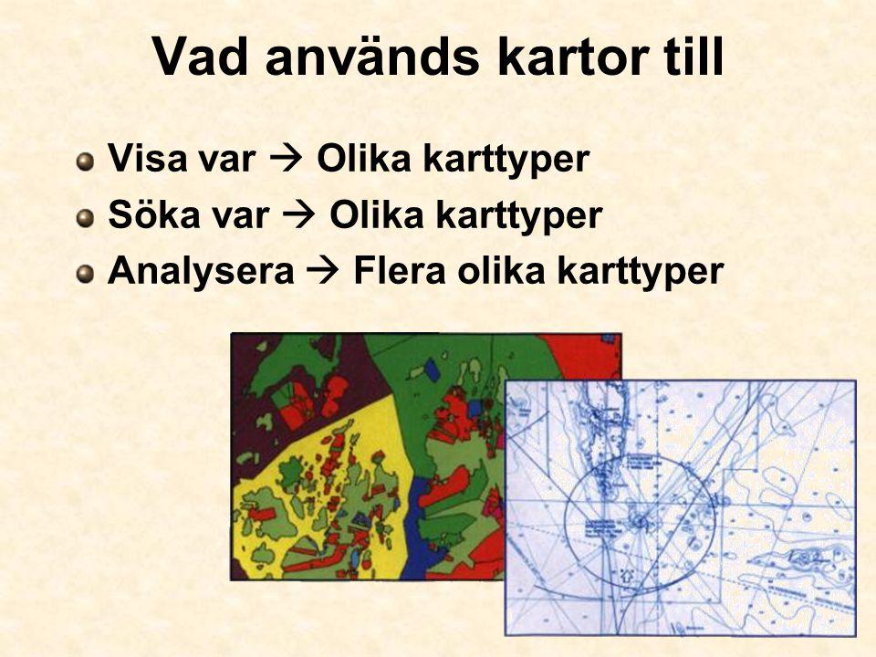 Vad används kartor till Visa var  Olika karttyper Söka var  Olika karttyper Analysera  Flera olika karttyper