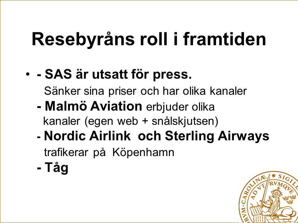 Resebyråns roll i framtiden - SAS är utsatt för press. Sänker sina priser och har olika kanaler - Malmö Aviation erbjuder olika kanaler (egen web + sn
