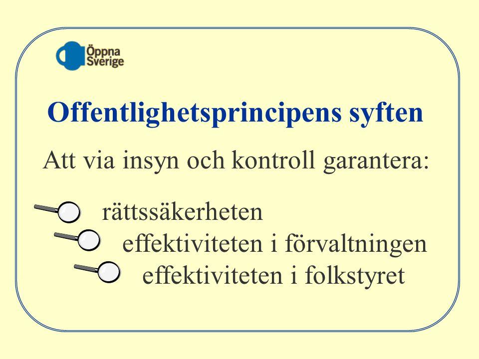 rättssäkerheten effektiviteten i förvaltningen effektiviteten i folkstyret Offentlighetsprincipens syften Att via insyn och kontroll garantera: