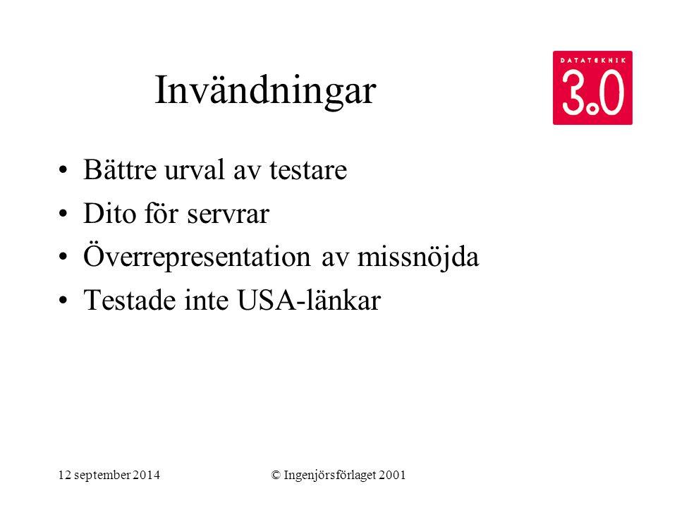 12 september 2014© Ingenjörsförlaget 2001 Invändningar Bättre urval av testare Dito för servrar Överrepresentation av missnöjda Testade inte USA-länka