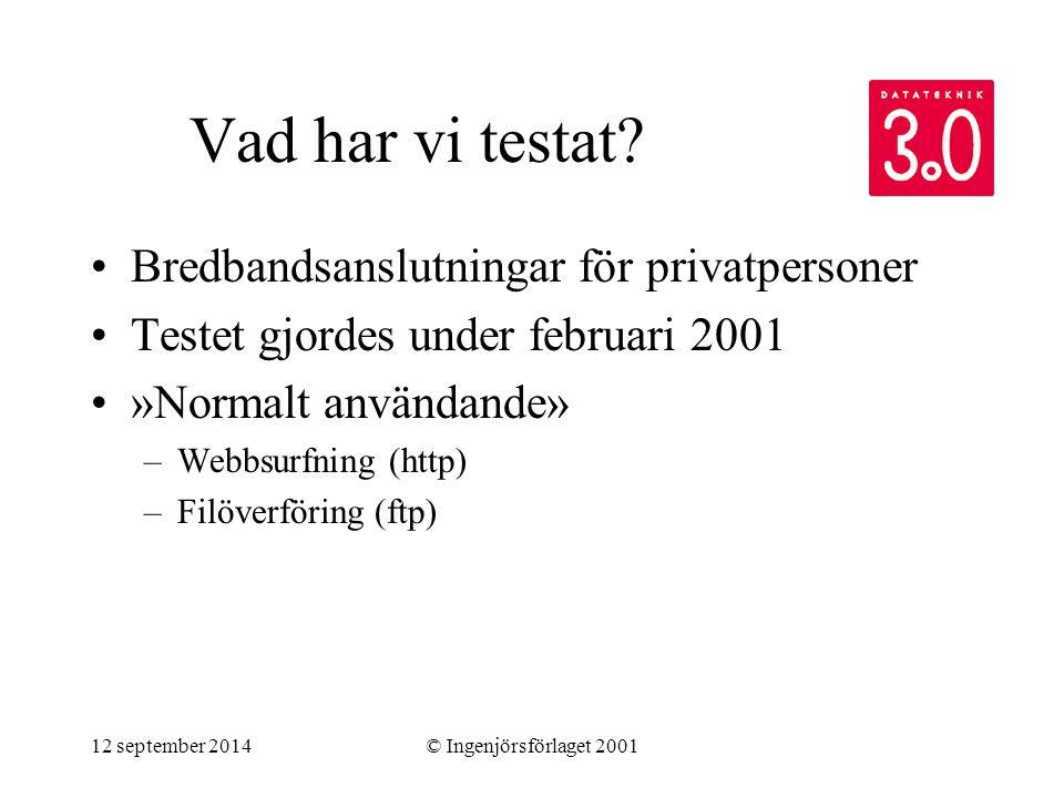 12 september 2014© Ingenjörsförlaget 2001 Vad har vi testat? Bredbandsanslutningar för privatpersoner Testet gjordes under februari 2001 »Normalt anvä