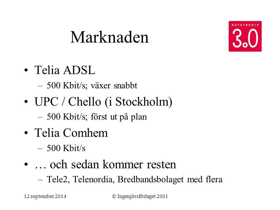 12 september 2014© Ingenjörsförlaget 2001 Marknaden Telia ADSL –500 Kbit/s; växer snabbt UPC / Chello (i Stockholm) –500 Kbit/s; först ut på plan Teli