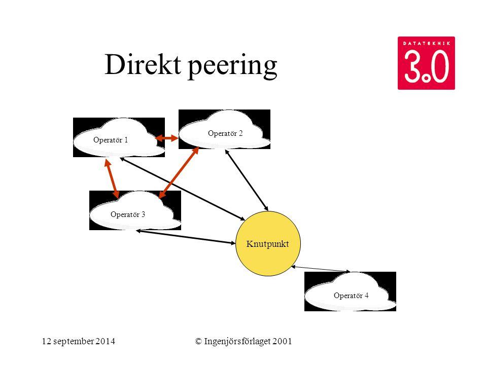 12 september 2014© Ingenjörsförlaget 2001 Direkt peering Knutpunkt Operatör 1 Operatör 2 Operatör 3 Operatör 4