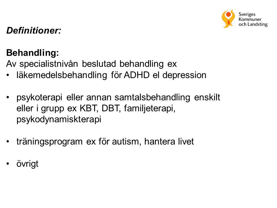 Definitioner: Fördjupad utredning: Av specialistnivån beslutad mer omfattade utredning ex: neuropsykiatriskutredning för ADHD el autism, kognitiv funktionsnivå utredning komplicerad diagnostisk utredning övrigt