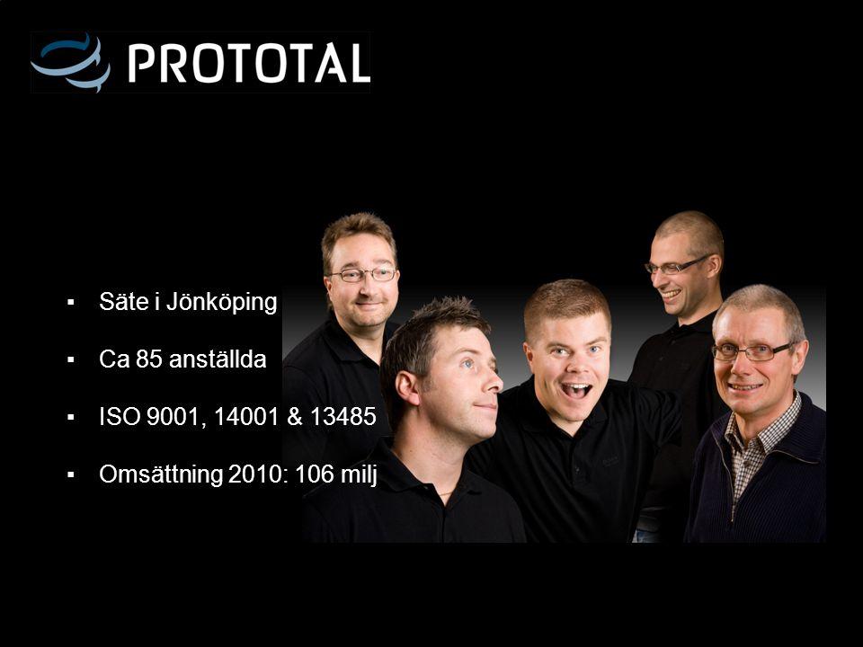 ▪ Säte i Jönköping ▪ Ca 85 anställda ▪ ISO 9001, 14001 & 13485 ▪ Omsättning 2010: 106 milj