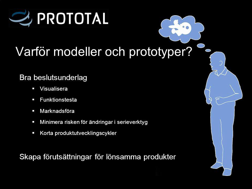 Varför modeller och prototyper?  Visualisera  Funktionstesta  Marknadsföra  Minimera risken för ändringar i serieverktyg  Korta produktutveckling