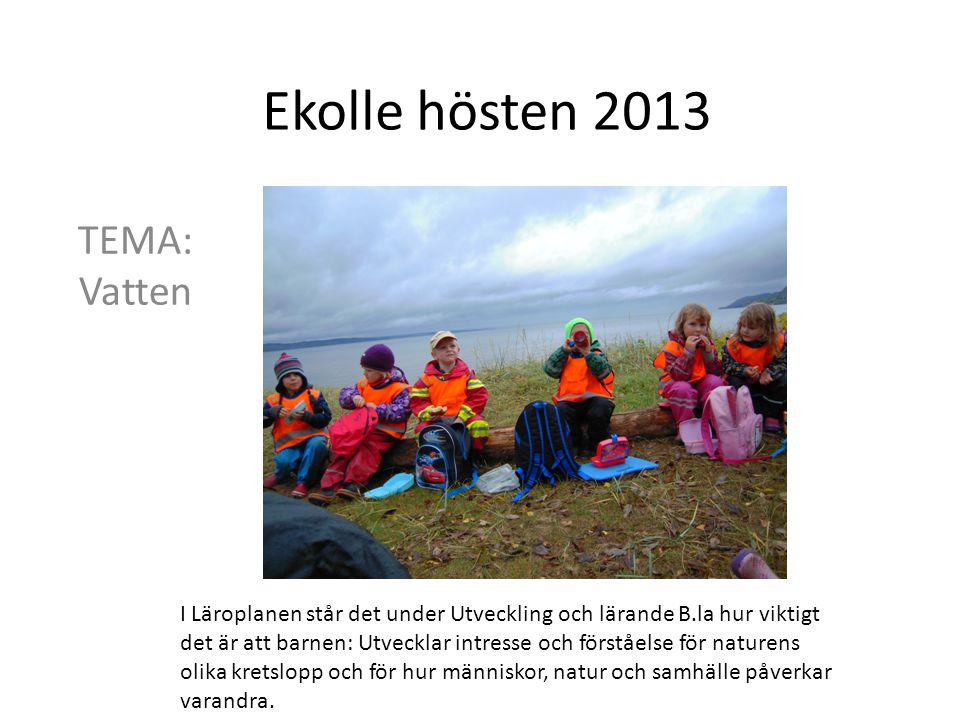 Ekolle hösten 2013 TEMA: Vatten I Läroplanen står det under Utveckling och lärande B.la hur viktigt det är att barnen: Utvecklar intresse och förståel