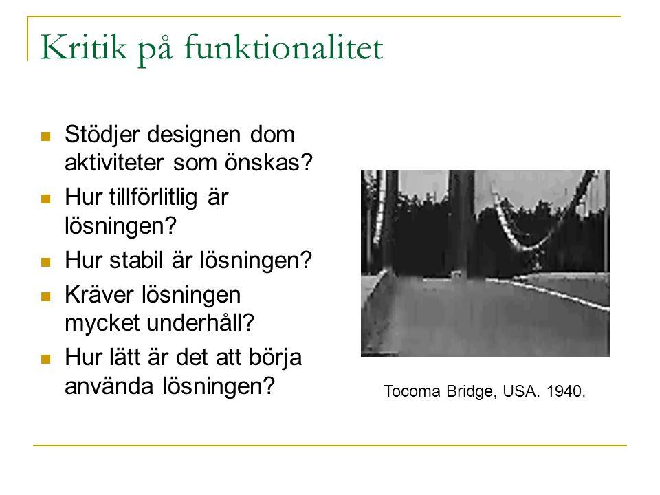 Kritik på funktionalitet Stödjer designen dom aktiviteter som önskas.