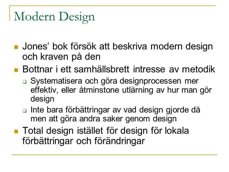 Modern Design Jones' bok försök att beskriva modern design och kraven på den Bottnar i ett samhällsbrett intresse av metodik  Systematisera och göra designprocessen mer effektiv, eller åtminstone utlärning av hur man gör design  Inte bara förbättringar av vad design gjorde då men att göra andra saker genom design Total design istället för design för lokala förbättringar och förändringar
