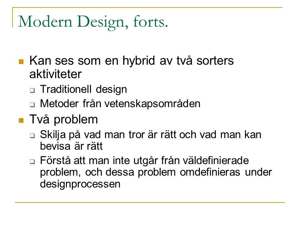 Modern Design, forts.