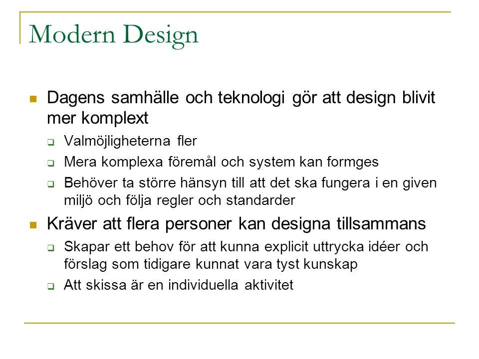 Modern Design Dagens samhälle och teknologi gör att design blivit mer komplext  Valmöjligheterna fler  Mera komplexa föremål och system kan formges  Behöver ta större hänsyn till att det ska fungera i en given miljö och följa regler och standarder Kräver att flera personer kan designa tillsammans  Skapar ett behov för att kunna explicit uttrycka idéer och förslag som tidigare kunnat vara tyst kunskap  Att skissa är en individuella aktivitet