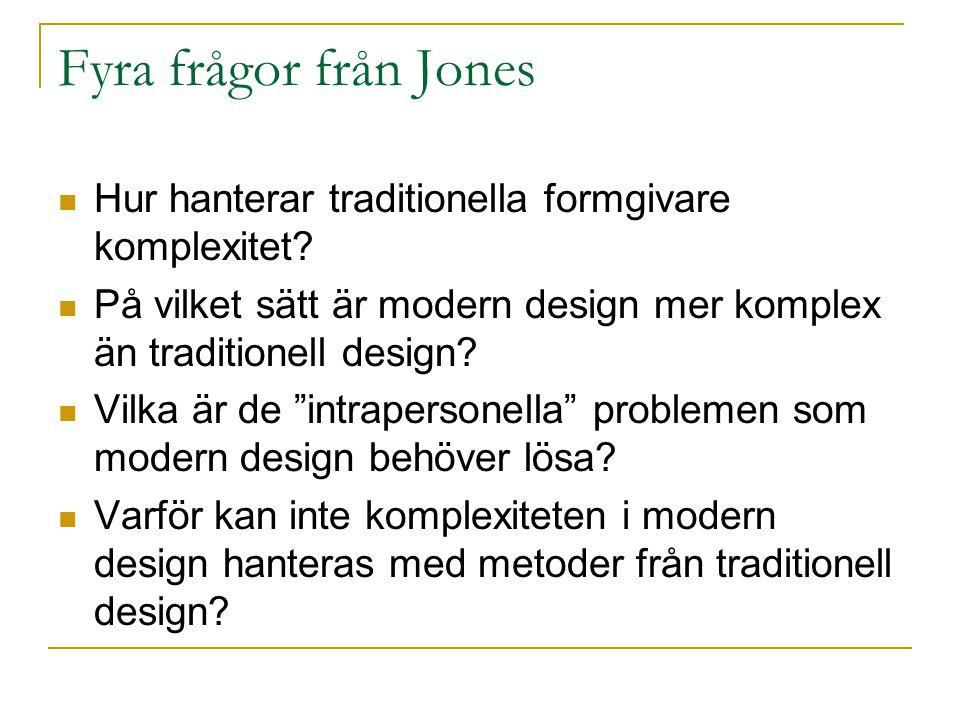 Fyra frågor från Jones Hur hanterar traditionella formgivare komplexitet.