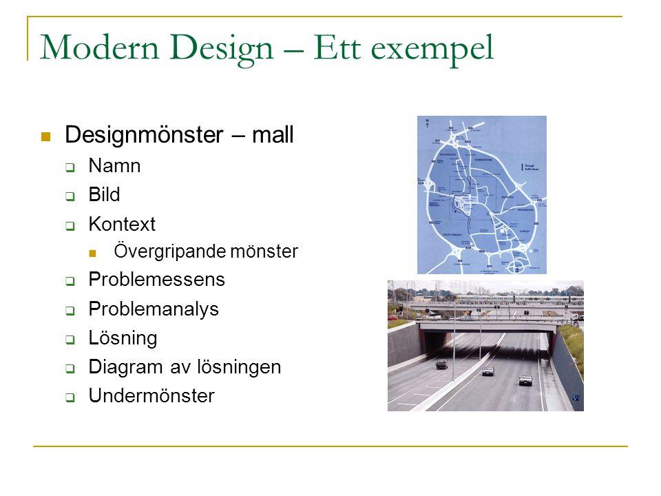 Modern Design – Ett exempel Designmönster – mall  Namn  Bild  Kontext Övergripande mönster  Problemessens  Problemanalys  Lösning  Diagram av lösningen  Undermönster