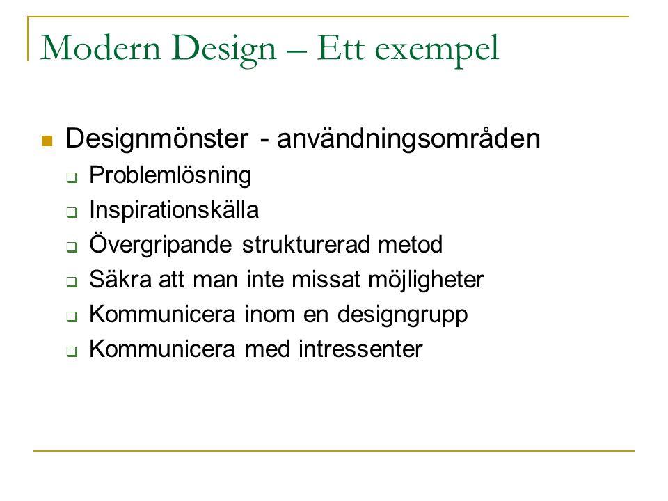 Modern Design – Ett exempel Designmönster - användningsområden  Problemlösning  Inspirationskälla  Övergripande strukturerad metod  Säkra att man inte missat möjligheter  Kommunicera inom en designgrupp  Kommunicera med intressenter