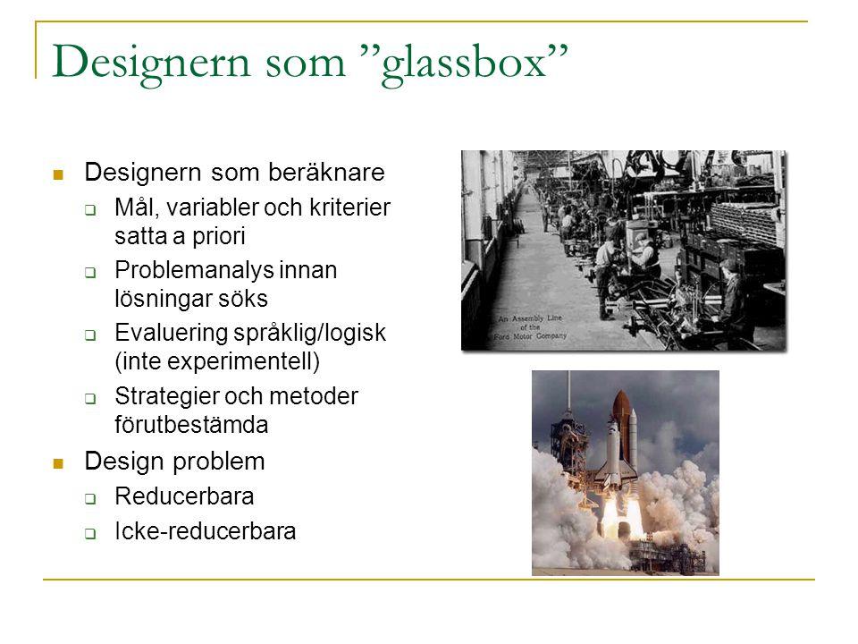 """Designern som """"glassbox"""" Designern som beräknare  Mål, variabler och kriterier satta a priori  Problemanalys innan lösningar söks  Evaluering språk"""