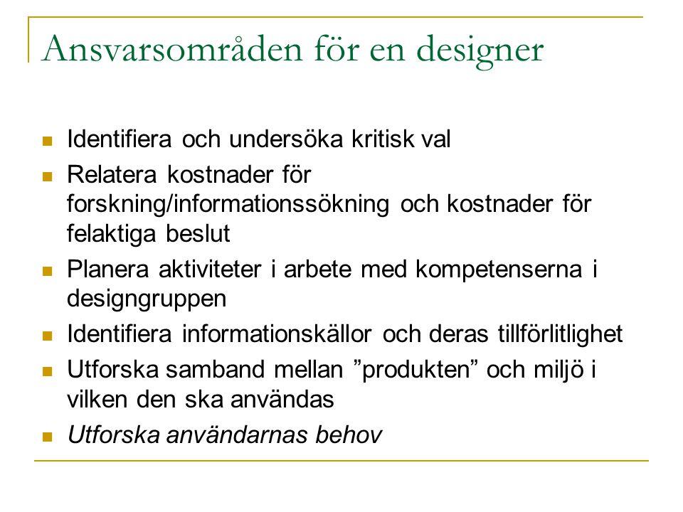 Ansvarsområden för en designer Identifiera och undersöka kritisk val Relatera kostnader för forskning/informationssökning och kostnader för felaktiga
