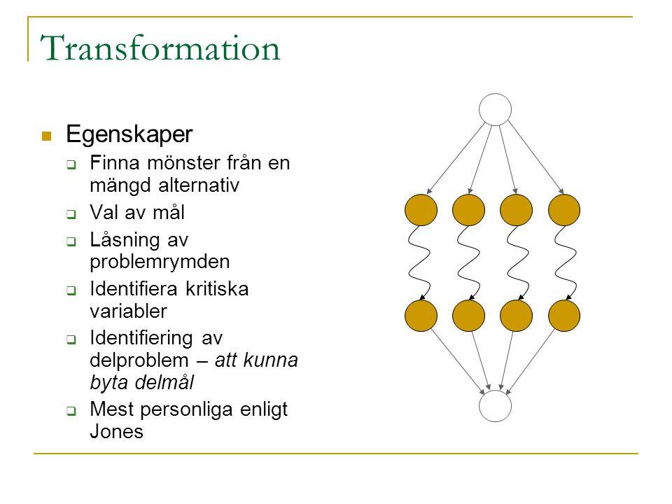 Transformation Egenskaper  Finna mönster från en mängd alternativ  Val av mål  Låsning av problemrymden  Identifiera kritiska variabler  Identifi