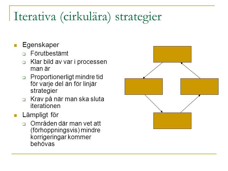 Iterativa (cirkulära) strategier Egenskaper  Förutbestämt  Klar bild av var i processen man är  Proportionerligt mindre tid för varje del än för li