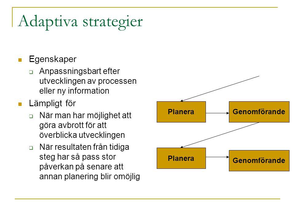 Adaptiva strategier Egenskaper  Anpassningsbart efter utvecklingen av processen eller ny information Lämpligt för  När man har möjlighet att göra av