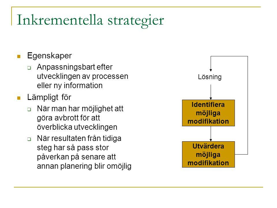 Inkrementella strategier Egenskaper  Anpassningsbart efter utvecklingen av processen eller ny information Lämpligt för  När man har möjlighet att gö