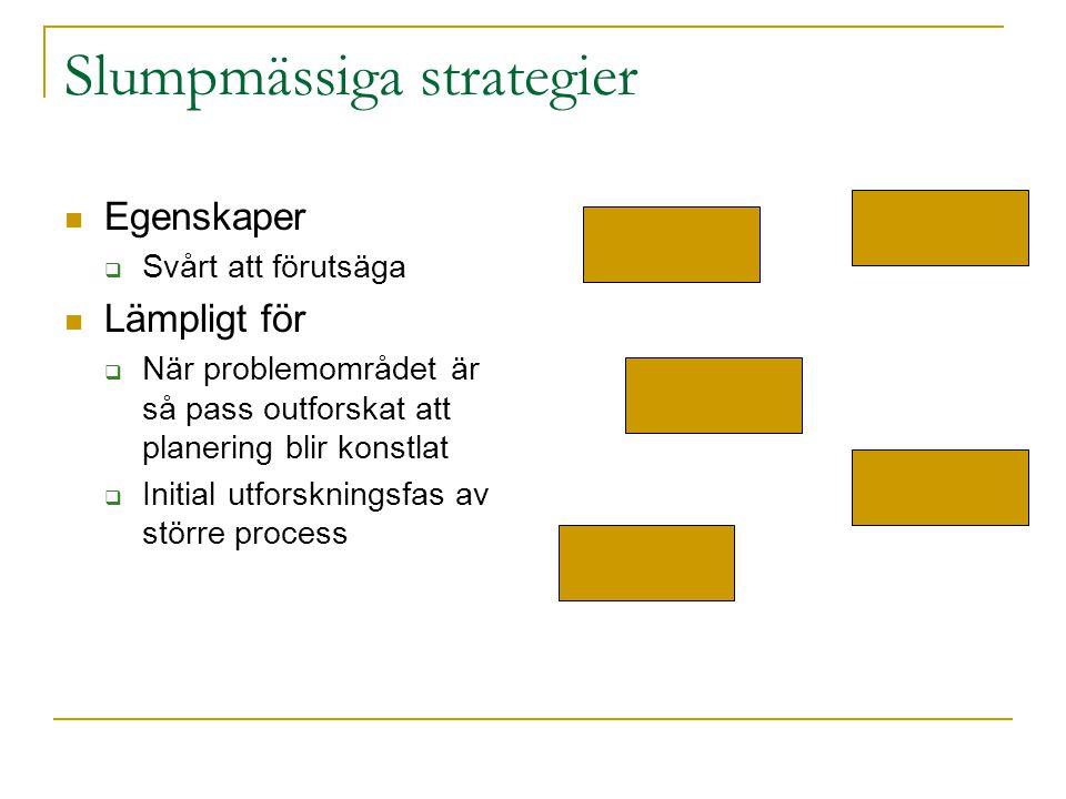 Slumpmässiga strategier Egenskaper  Svårt att förutsäga Lämpligt för  När problemområdet är så pass outforskat att planering blir konstlat  Initial